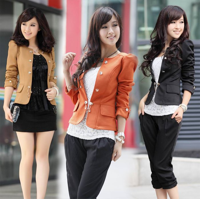 KOREAN-WOMEN-S-GIRLS-SILM-FIT-CAREER-PUFF-LONG-SLEEVE-JACKET-BLAZER-COAT